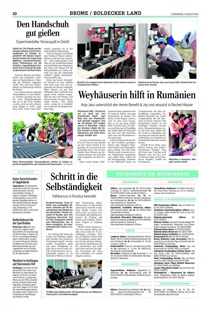 Zeitungsartikel Aug. 2013